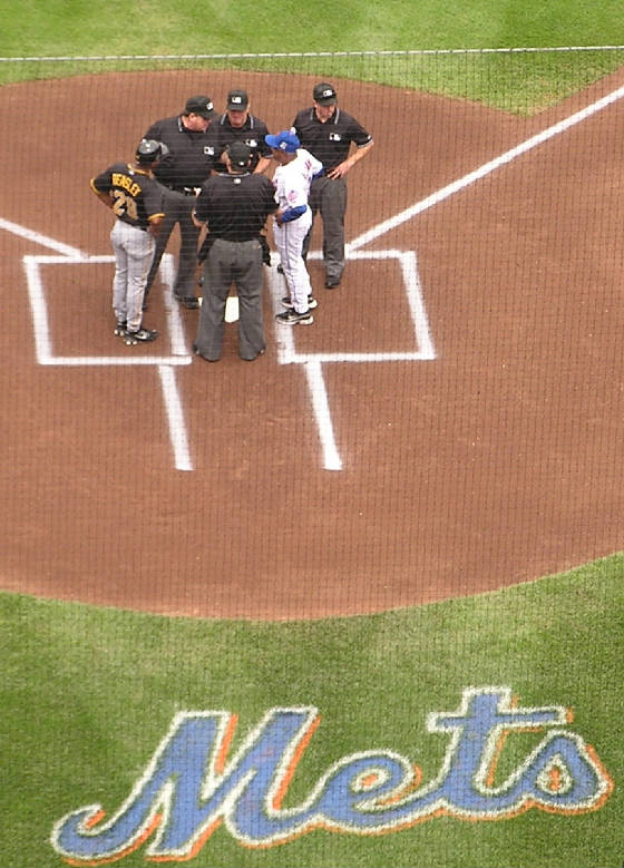 Exchanging the Line up cards at Citi Field